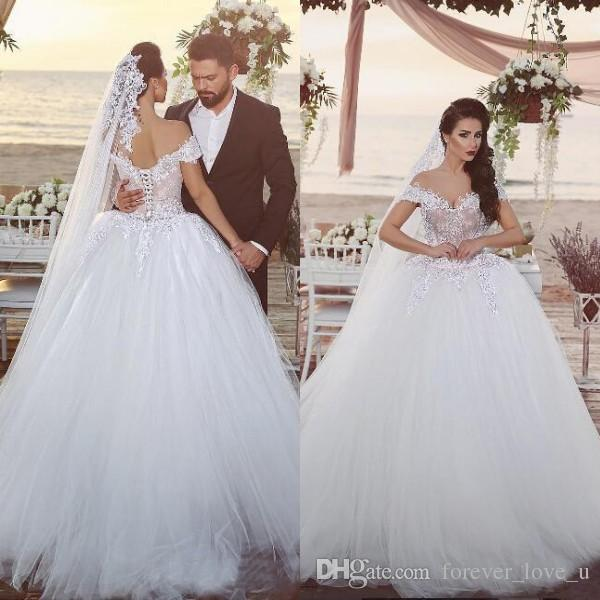 Arabic Big Ball Gown Wedding Dresses Off The Shoulder Nude Lined Top