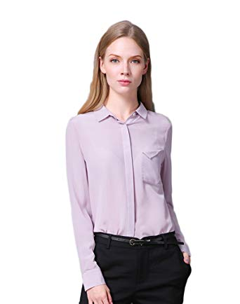 Colorful Silk CLC Women's Pure Mulberry Silk Blouse Long Sleeves