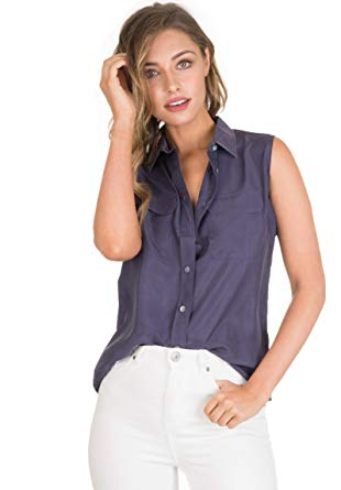 CAMIXA Womens 100% Silk Blouses Ladies Shirt Casual Pocket Button up