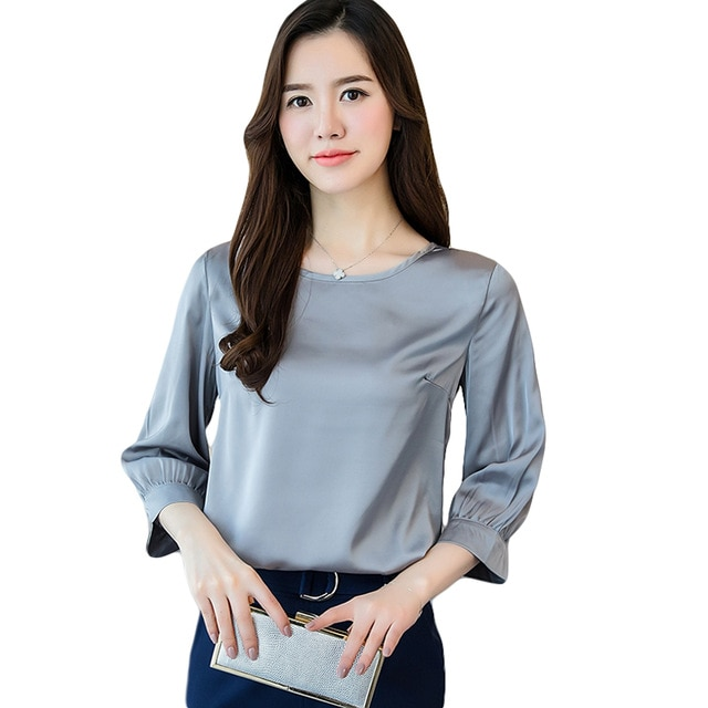 Spring Summer Women Blouses 2018 New Casual Chiffon Satin Silk