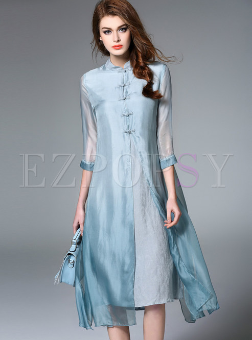 Dresses | Shift Dresses | Elegant Silk Pure Color Shift Dress