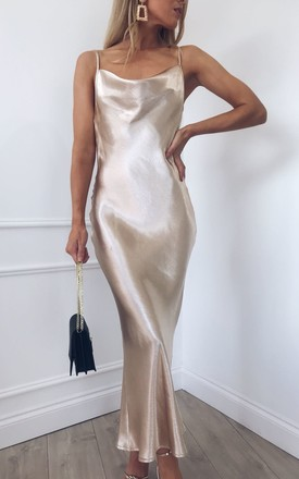 Keisha Slip Midi Dress Gold | Pretty Lavish | SilkFred