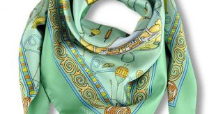 French silk scarves - twill - silk road - green - 36x36