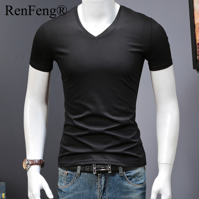 Fashion Simple Blank T Shirt Men Cotton Summer Smooth 100% Silk T