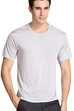 Men's Silk T-Shirt|Super Breathable Crew Neck Silk Tee Shirts For