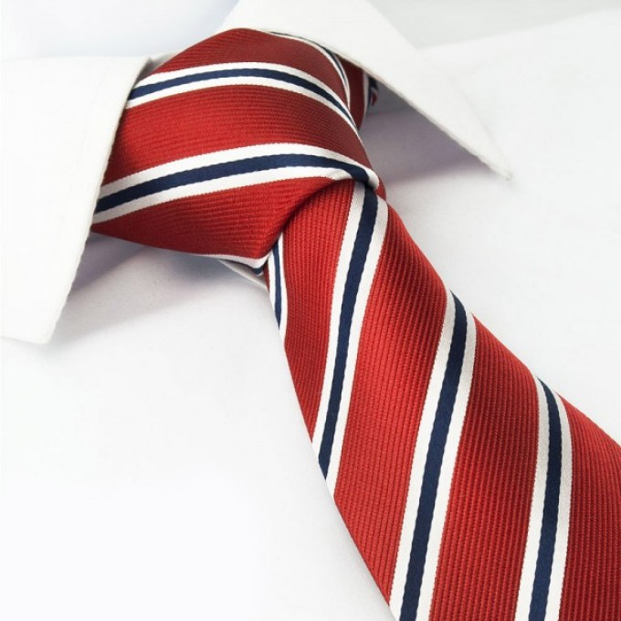 Red with Navy and White Stripes Silk Tie @ The Tie Store