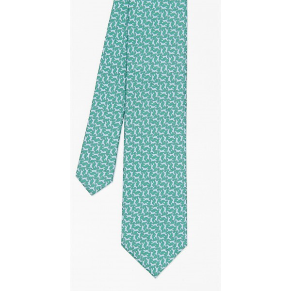 Green/blue Italian Silk Tie in Horse - Men Men | JMcLaughlin.com