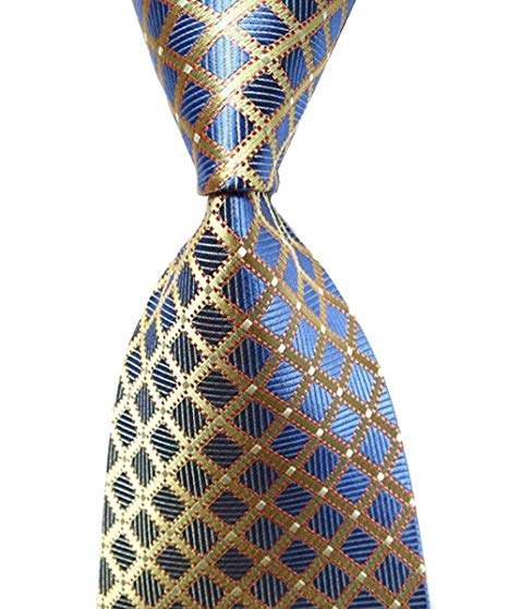 Wehug Hot Men's Ties 100% Silk Tie Woven Necktie Jacquard Neck Gold