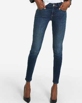 Mid Rise Dark Wash Skinny Jeans | Express