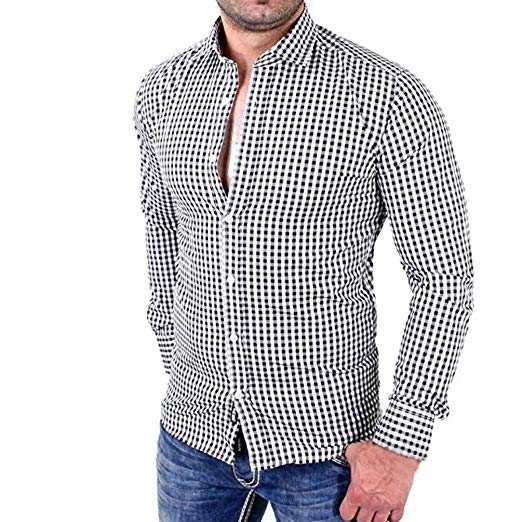 Clearance, HOT Men's Plaid Shirts Male Long Sleeve Slim Fit Business