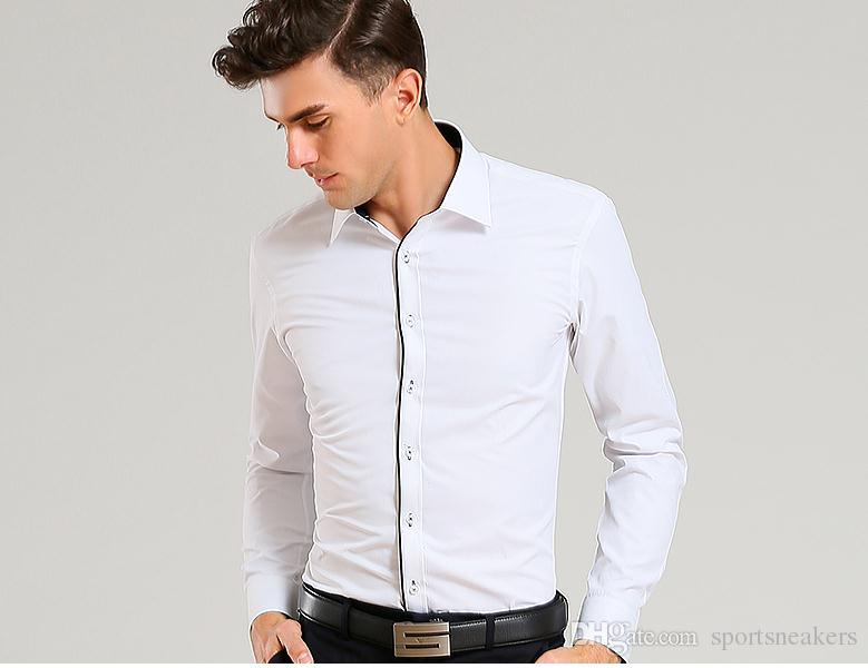 2019 Men Business Shirts Long Sleeve Mens Slim Fit Dress Shirts