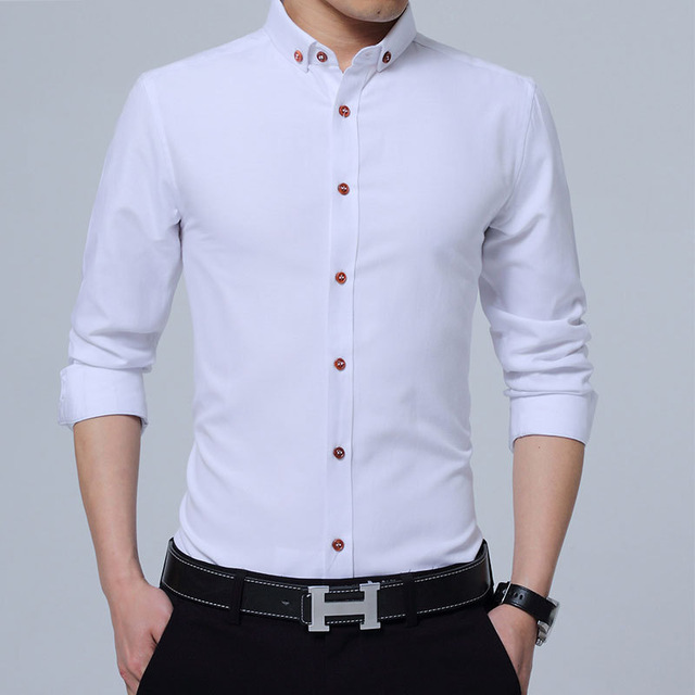 Long Sleeve Shirt Men New Fashion Designer Camisa Man Solid Shirt