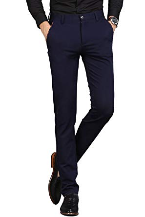 VEGORRS Men's Wrinkle-Free Slim Fit Dress Pants Stretch Casual Suit