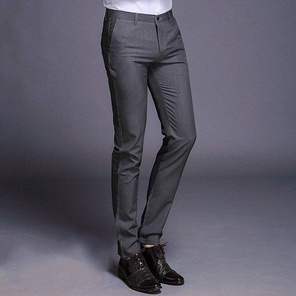 Mens Business Straight Suit Pants Slim Fit Easy-care Casual Elastic