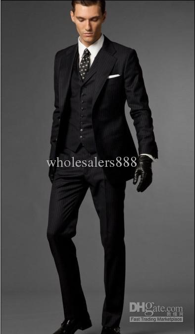 Slim Fit Black With Stripe Groom Tuxedos Best Man Notch Lapel