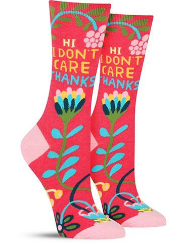 Hi. I Don't Care. | Funny Novelty Socks for Women