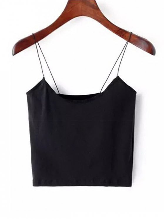 12% OFF] [HOT] 2019 Plain Cropped Spaghetti Strap Tank Top In BLACK