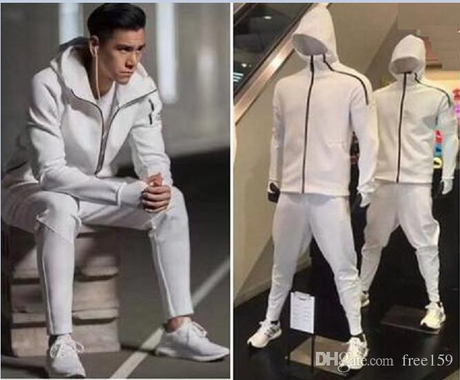 Z.N.E Hoody Men'S Sports Suits Black White Tracksuits Hooded Jacket