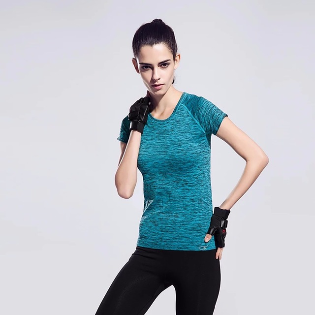 FLANDIS Sexy Sporty top Fitness jersey female Blue Shirt with short
