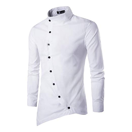 Comfy Men Western Oblique Button Down Small Stand Collar Shirt White