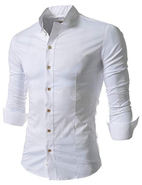 Easy Mens Retro Stand up Collar Long Sleeve Slim Fit Dress Shirts L