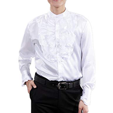Men Shirts Victorian Tuxedo Satin Long Sleeve Ruffle Stand-up Collar
