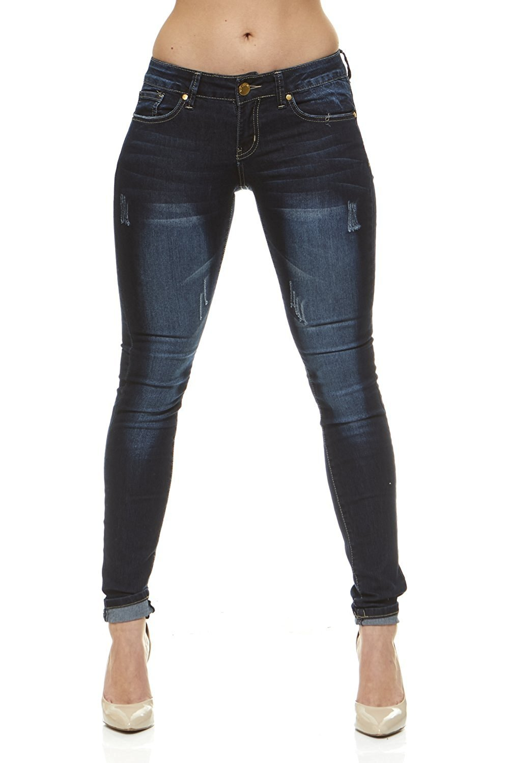 Classic Skinny Jeans for Women Slim Fit Stretch Stone Washed Jeans