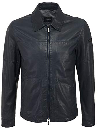 Strellson Men's Asper Clay Leather Jacket Dark Navy - Blue -: Amazon