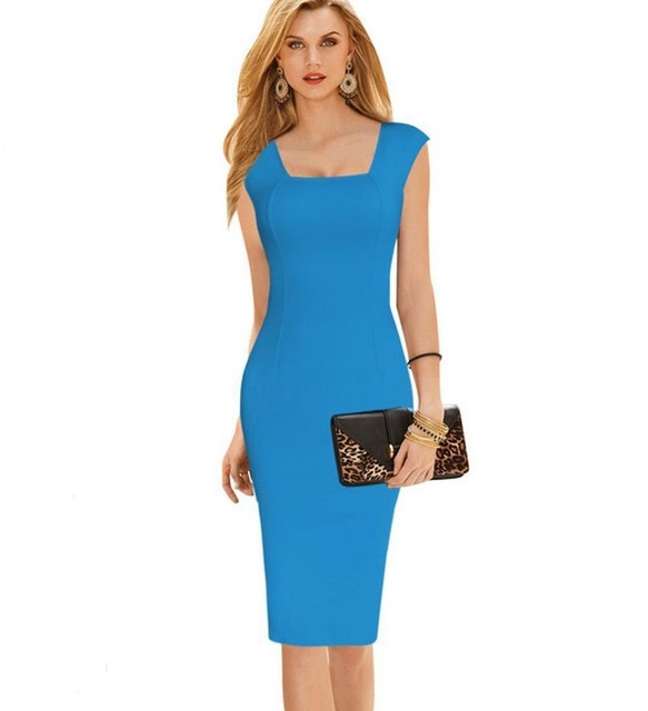 Women slim Pencil dresses Elegant Work Office Fitted Stretch Bodycon