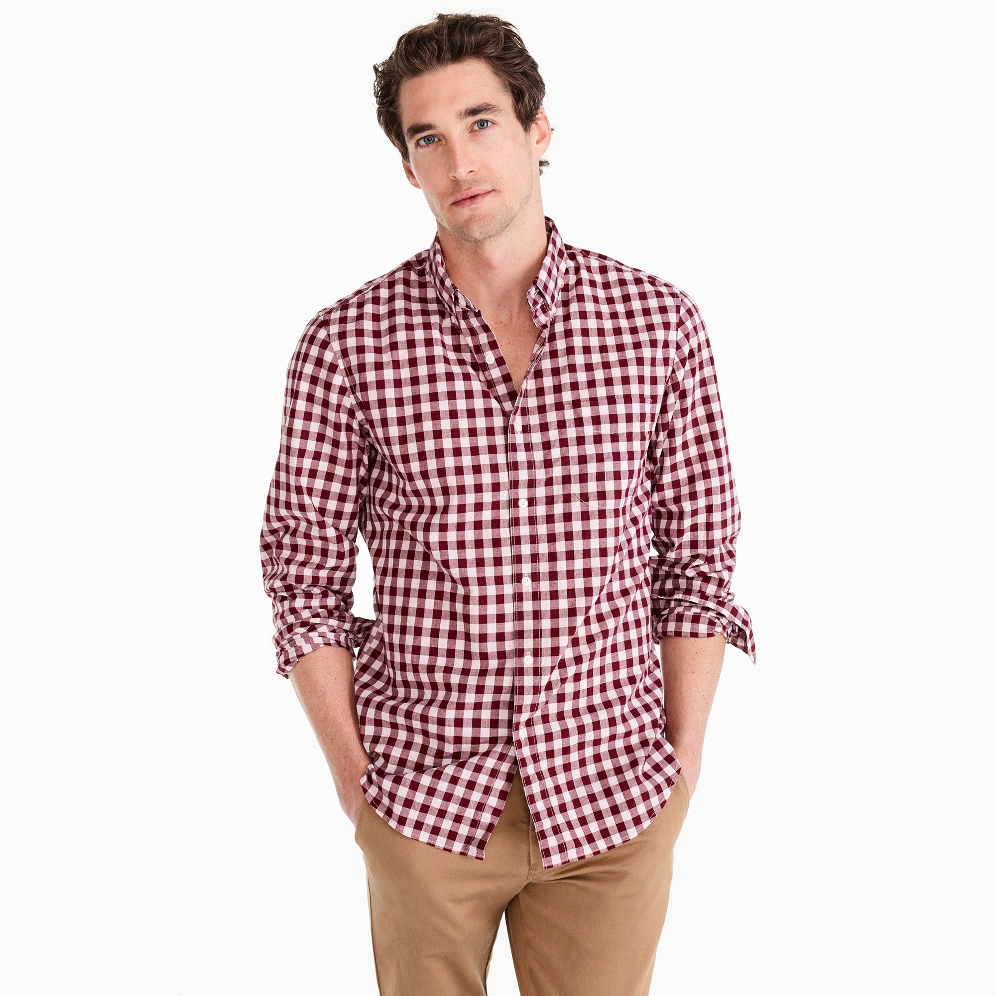 Stretch shirt in heather poplin gingham - Men's Shirts | J.Crew