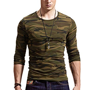 Amazon.com: XShing Mens Long Sleeve Camo T Shirts Casual Fitness