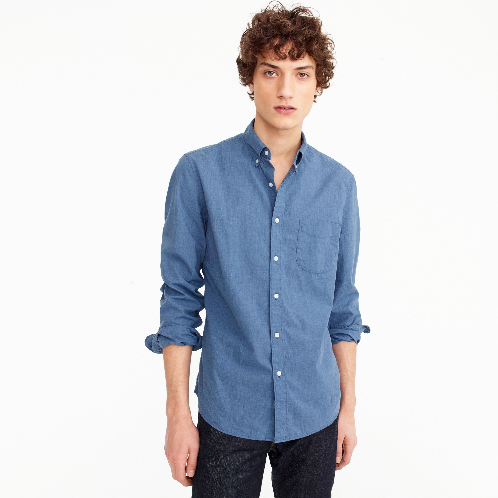 Stretch shirt in blue heather poplin - Men's Shirts | J.Crew