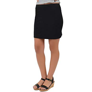 Stretch is Comfort Women's Cotton Stretch Fabric Basic Mini Skirt at