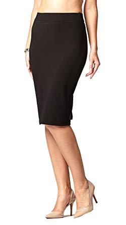 Premium Women's Pencil Skirt - Elastic Waist - Stretch Bodycon Midi