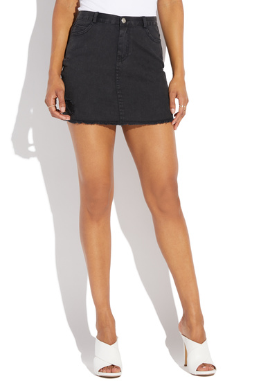 STRETCH DENIM SKIRT - ShoeDazzle