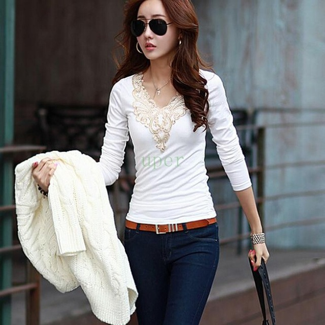 Stylish Korean Women V neck Lace Collar Tight Tops Slim Fit Blouse