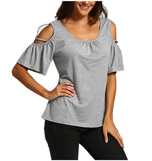 Londony New Arrival Tops, Women's Summer Cold Shoulder Ruffle Sleeve