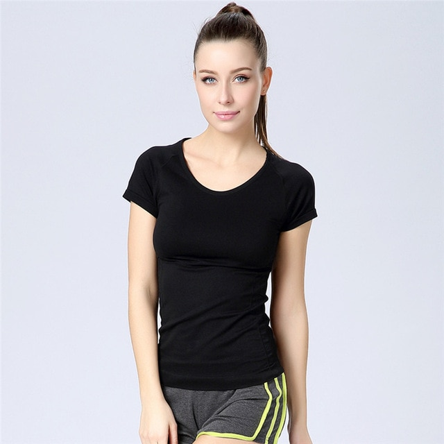 Women Gym Fitness Sports Women O Neck T shirts Stretch Tops-in