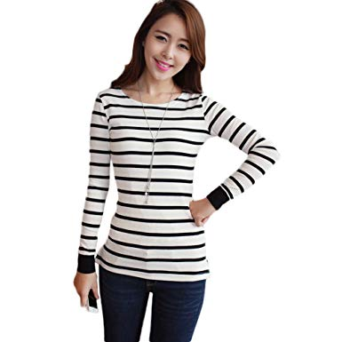 Amazon.com: Nanxson Women Striped Long Sleeve T Shirt Slim Fit in