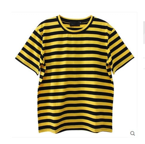High Quality Women Fashion Black Orange Stripped T Shirt Summer