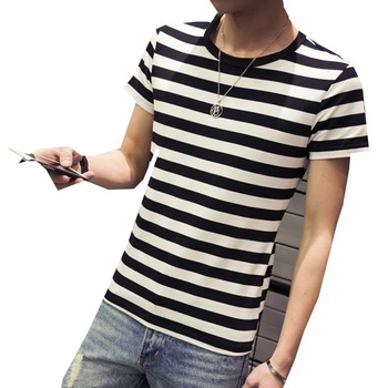 2017 Summer Custom Men's T Shirt Bulk Wholesale Plain Strip Men T