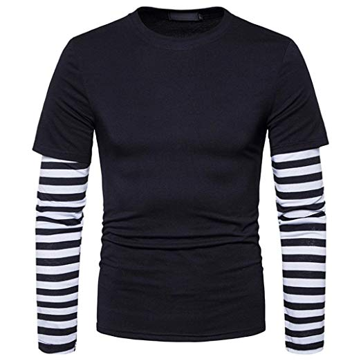 Amazon.com: Bookear Mens Strip Long/Short Sleeve Hoodie T-Shirt Fake