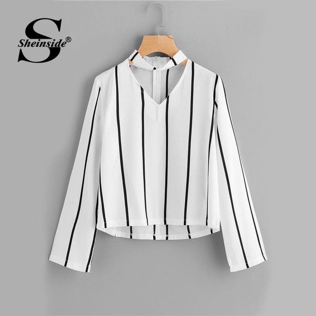 Sheinside Striped Blouse Women Shirts Blouses Crop Top Long Sleeve