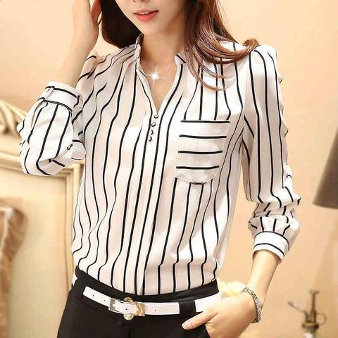 Women Blouses Plus Size Striped Blouses Chiffon Casual Shirt