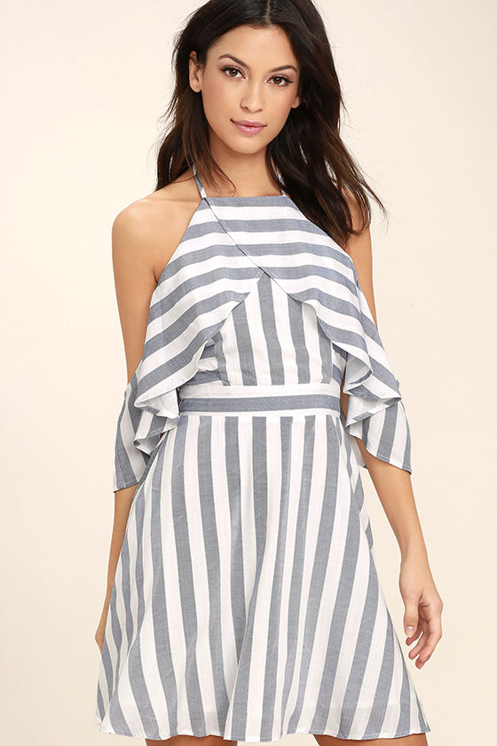 Fun Blue and White Dress - Striped Dress - Off-the-Shoulder Dress