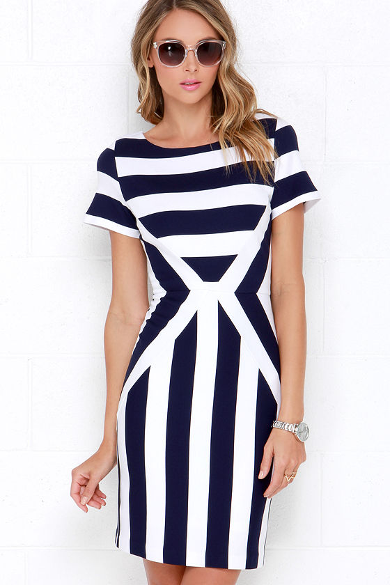 Striped Dress - Bodycon Dress - Ivory and Navy Blue Dress - $55.00