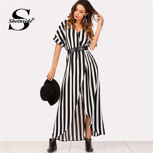 Sheinside Self Tie Waist Striped Dress 2018 Summer Asymmetrical