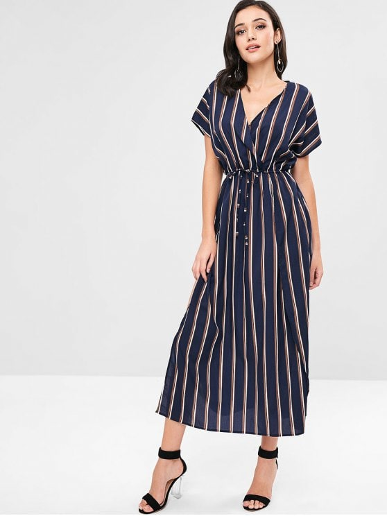 67% OFF] 2019 ZAFUL Maxi Surplice High Slit Striped Dress In DEEP