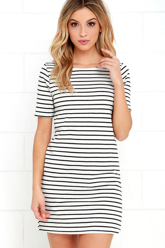 Cute Ivory Dress - Striped Dress - Knit Dress - $38.00
