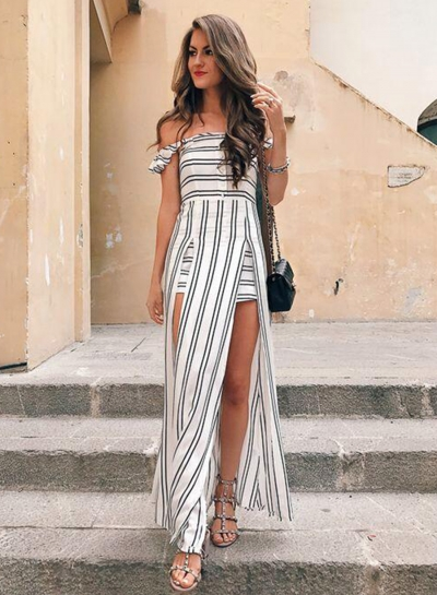 Women's Strapless Off Shoulder High Slit Striped Dress - STYLESIMO.com